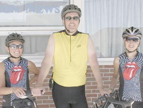 Taking part in the BRAN ride passing through Boone County last week were (l. to r.) Theresa Thomas Bender of Omaha, and former Albion residents John Nore of Dublin, OH, and Tiffany Bohm Hill of Lincoln.