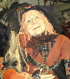 This Halloween witch has been greeting customers at Albion Floral & Gift.