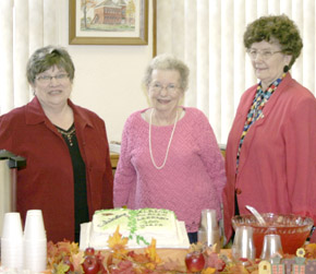 Helping out with the open house at Albion Public Library weere, l. to r., Sharon Stephens, Marie Hosford and Carolyn Fischer.
