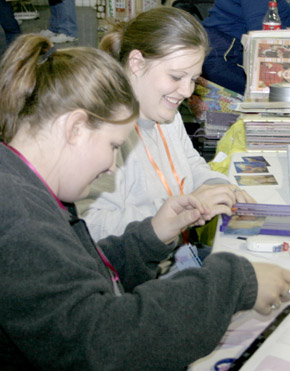 "Amy Shively and Amanda Redler enjoy their projects during ""Birthday Bash"" weekend."