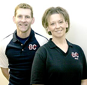 Mike McDermott, left, and Angie Knuth, right, are new at the Boone County Fitness Center.