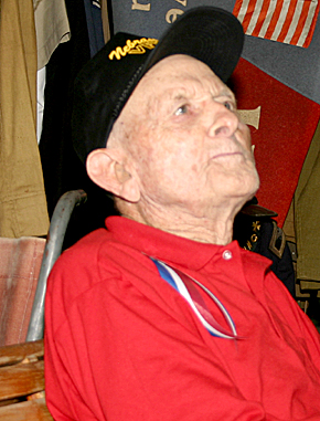 Charles Tiede, World War II veteran, recounts his experiences during a Memorial Day interview at the Boone County Museum.