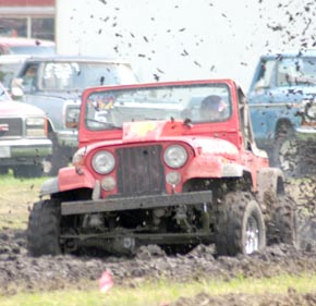 Mud Drags contestant leaves the starting line.