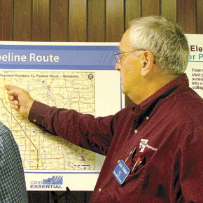 NPPD project manager Jack Sstoner discusses the Keystone XL Pipeline and the electronic transmission line that will serve a pumping station.