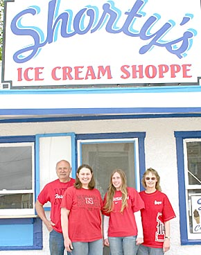 Shorty's Ice Cream Shoppe will be operated by, l. to r., Dave, Jennifer, Janelle and Deb Landauer.