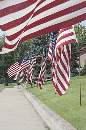 Avenue of Flags will decorate the courthouse lawn.