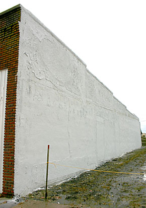 Newly restored downtown wall.