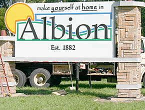 New Albion welcome sign.