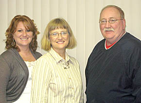 Sarah Grape, left, is serving as office manager for he parents, Bev and Jack Dailey.