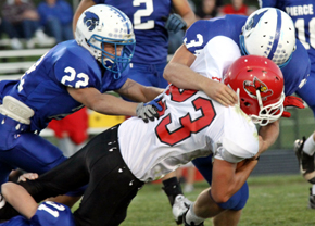 Logan Frey fights for tough yards