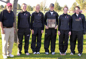 District champs, from left, Coach Walters, Breann Thorberg, Amy Ahlers, Brooke Bolin, Britany Seda, Emily Niewohner (Photo courtesy Kathy Thorberg)