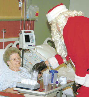 Santa visits patient Betty Hawthorne