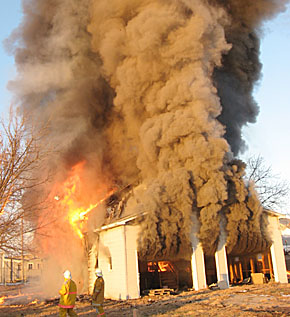 Controlled house burn at Petersburg.