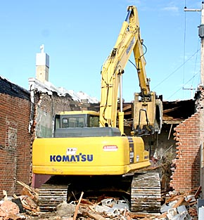 Building demolition on Church Street.