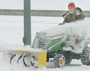 Snow blower at work.