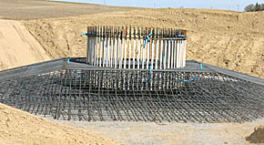 Rebar assembly in place before concrete is poured at wind tower site.