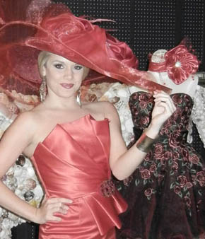 Miss America Teresa Scanlan models the hat she wore for the Kentucky Scholarship event during the 2011 Kentucky Derby.
