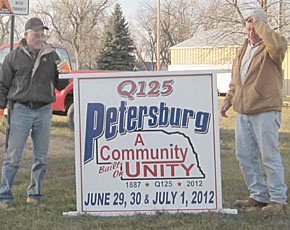 Larry Pelster, l., and Tony Thieman with new Q125 sign.