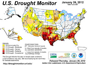Current U.S. Drought Monitor map.