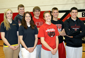 All-Conference & Honorable Mention Cardinals. Front, from left, Jenna Lehmann, Jaime Kennedy, Jade Gottier (Not pictured, Emily Carder). Back, from left, Beau Bremer, Brett Temme, Derek Gentrup, Tyler Hedlund.