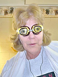 Jody Brengelman, LPN at Good Samaritan Society - Albion, wears goggles to simulate vision impairment.
