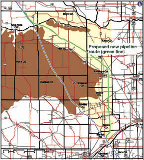 Green line designates current preferred route for Keystone XL