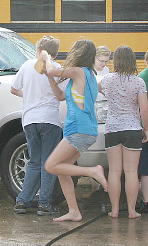 Middle school students washed cars last Friday, March 30, at Boone Central.
