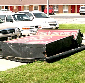 'The J' sign after fell to the ground on May 11.