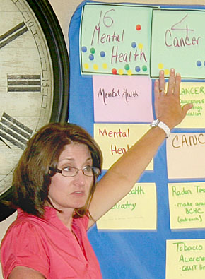 Health department staffer organizes charts during the Boone County area health needs assessment.