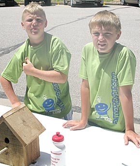 Brenden Beierman and Weston Choat crafted birdhouses for the youth entrepreneurship products fair.