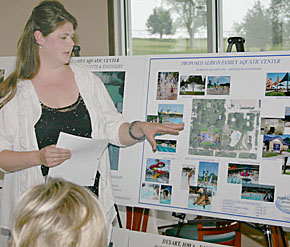 Hannah Meyer explains plans for the new Albion swimming pool during a meeting of project supporters last Friday, June 1.
