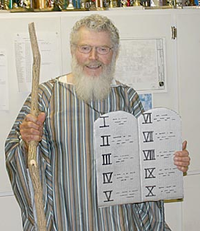 Moses (a.k.a. Fred Spieker) was on hand for the Q125 beard judging contest, complete with the 12 Commandments.