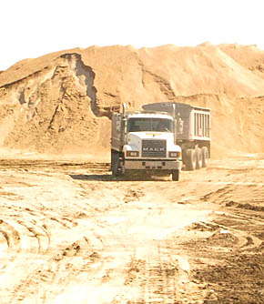 Stockpiling of gravel for Highway 14 overlay project.