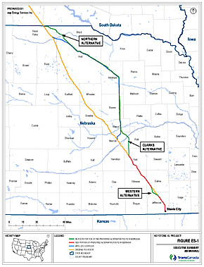 Revised Keystone XL pipeline route.