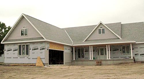 New home under construction in Albion.