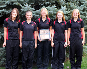 Cardinal golfers, from left, Paige Krohn, Kyley Sorell, Amy Ahlers, Melissa Kyncl, Jessica Tisthammer (Photo, Kathy Gladem, Boone Central Schools)