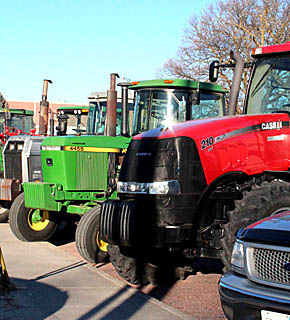 Tractors parked at Boone Central for FFA Week Tractor Day.
