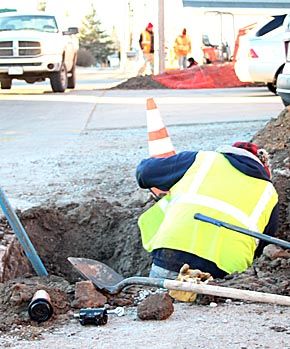 Fiber optic cable installation in downtown Albion