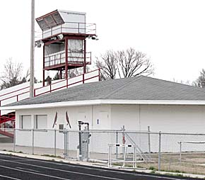 Restroom/concession building (above) will remain in place during Phase I reconstruction. Present stadium bleachers will be removed and sold for salvage.