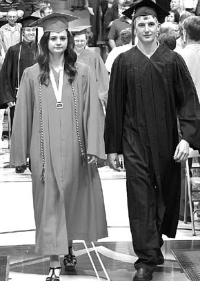 Eleanor Wagner of Petersburg and John Kennedy III march down the aisle during Boone Central commencement.