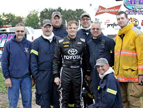 Kenny Wallace with Albion Volunteer Firemen