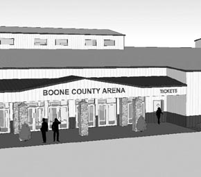 Artist's concept of the entrance to the proposed livestock exhibit building.
