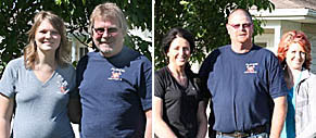 Left, Steve Gragert and daughter Denee Kunzman; right, Tracy Coakes and daughters Lacey Keeshan and Sara Rasmussen.