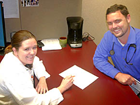 Dr. Tami Dodds with Dr. Joshua Thoendel.