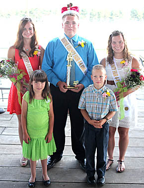 4-H Royalty includes (back, l. to r.) Eleanor Wagner, Jake Grundmayer and Bailey Wagner. Pages are Aiden Choat and Josiah Ketelsen.