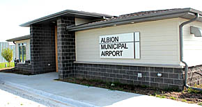 New Albion Airport terminal/administration building.