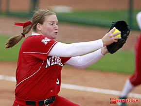 Ashley Hagemnann in action pitching for the Huskers.