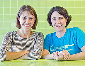 Albion native Becky App, right, and her business partner Abby Jordan.