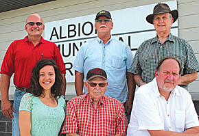 Albion Airport Authority board members are (back, l.-r.) Ron Levander, Bob Sandman and Sam McMillan; (front) Tonya Huismann, board secretary; Delwyn Lough and Steve Wooden.