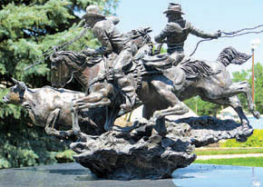 One of the Herb Mignery bronze sculptures featured in the sculpture garden at Bartlett.
